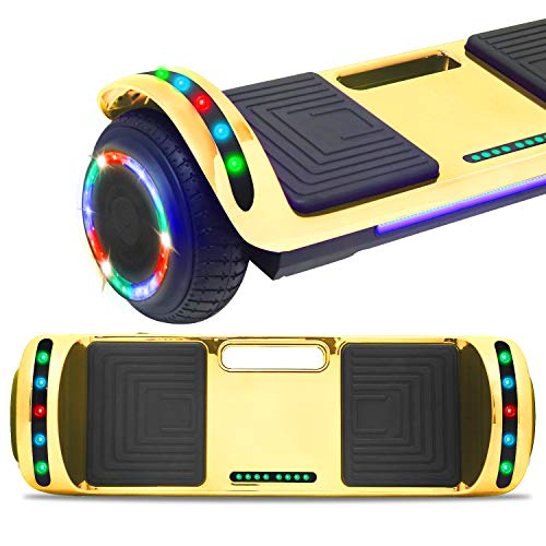 DOC Electric Hoverboard Self-Balancing Hoover Board with Built in Speaker LED Lights Wheels UL2272 Certified (Chrome Gold)