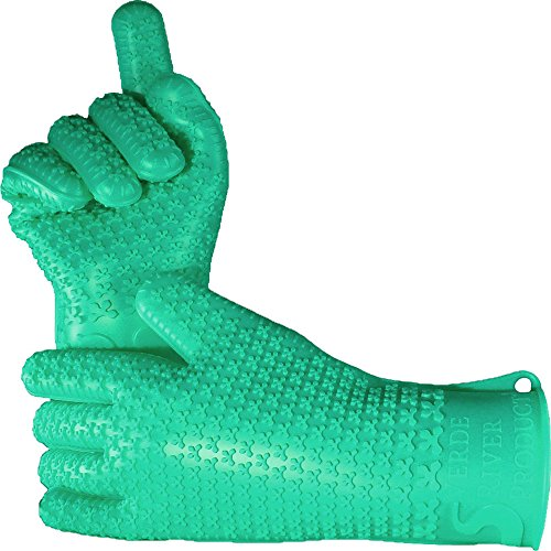 Verde River Products Silicone Heat Resistant BBQ Grilling Gloves - Best Protective Insulated Kitchen - Oven – Grill – Baking - Smoker & Cooking - Waterproof Grip - Replace Potholder & Mitts Moss