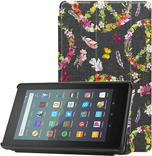Cover TabletCaseProtector Peace Sign Flowers Butterflies Feathers Hippy GirlsTabletCase for Fire 7 Tablet (9th Generation, 2019 Release) Lightweight with Auto Sleep/Wake