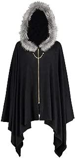 FEDULK Womens Vintage Coat Bat Hoodie Outwear Plush Hat Zipper Holiday Party Cloak Plus Size XL-5XL