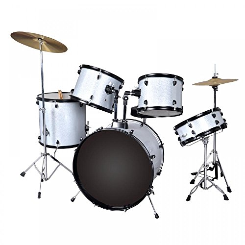 New Silver Drum Set 5 PC Complete Adult Set Cymbals Full Size Adult Drum Set J05