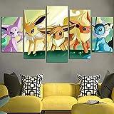 HFDSA Colores Cuadro En Lienzo Imagen Pokémon Eevee Evolución 5 Piezas HD Lienzo Arte De La Pared Imágenes Salón Decoración Modular Wall Innovador Regalo