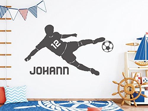 tjapalo® s-pkm403 Wandtattoo Junge mit Namen Wandtatoo Fussball mit Namen und Wunschnummer (B100 x H58 cm)