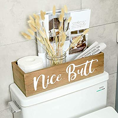 Nice Butt Bathroom Decor Box, Funny Sign Wooden Farmhouse Toilet Paper Holder for Storage, Country Rustic Bathroom Cute Accessories for Home Decoration (Brown)