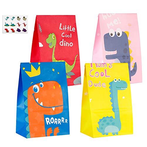 JOYUE 40 Pcs Bolsas de Fiesta Dinosaurios, Bolsas de Papel de Caramelos, Bolsa de Regalo Ambiental con 72 Pegatinas de Dinosaurios, Bolsas de Kraft Colores para Niños Suministros Fiesta de Cumpleaños