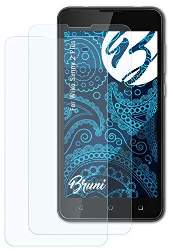 Bruni Schutzfolie kompatibel mit Wiko Sunny 2 Plus Folie, glasklare Bildschirmschutzfolie (2X)
