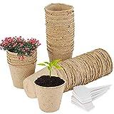 Beenle-Icey 50PZ Vasi Biodegradabili per Piante da 8 CM, Semina con 50 Etichette di Piante Protezione Ambientale Fertilizzante Vegetale Vasi da Vivaio per Piantine di Pomodoro da Verdura