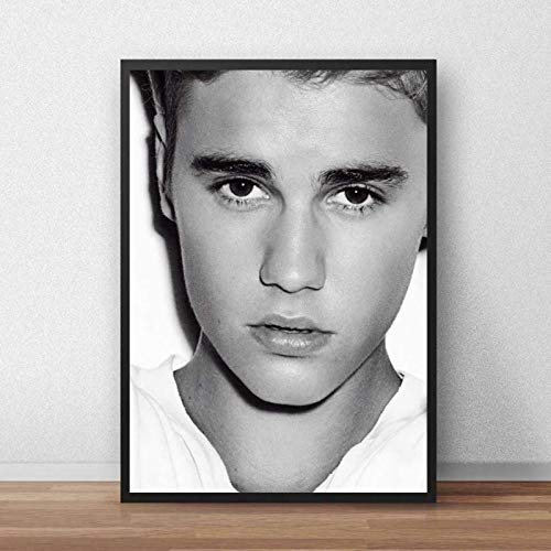 WDQFANGYI Justin Bieber Poster Tela Pittura Cantante Musica Poster Stampe Wall Art Canvas Bar Cafe Living Room Decor 40X50Cm (FLL4493)