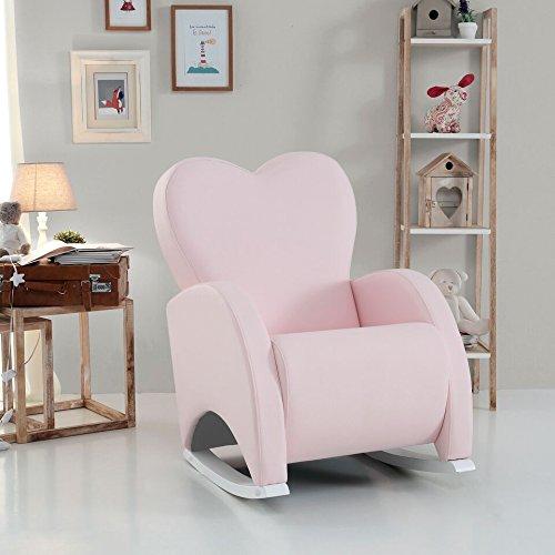 Micuna - Butaca de lactancia love tapizado polipiel rosa/estructura blanco