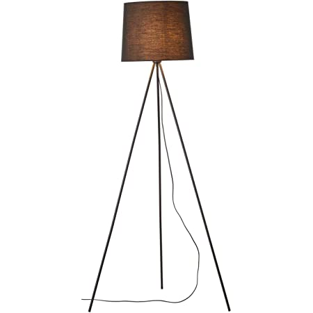Brilliant lamp Ailey lampadaire à trois pieds noir  1x A60, E27, 60W, adapté aux lampes standard (non incluses)  Échelle A ++ à E  Avec pédale 92660/06