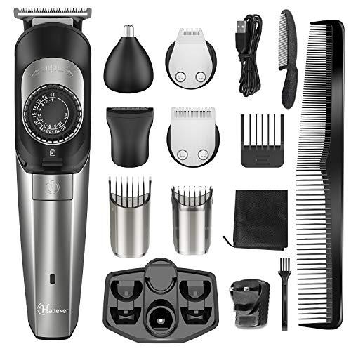 Hatteker Tondeuse à Barbe pour hommes Tondeuse à Cheveux Tondeuse Cheveux sans fil corps toiletteur nez tondeuse Kit Tondeuse de Précision Tondeuse 5 en 1 avec chargement USB