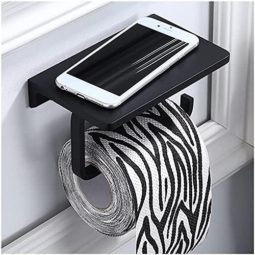 QIXIAOCYB Tenedor de Rollo de Inodoro, baño Tapa de Inodoro Tenedor de teléfono móvil Soporte de Almacenamiento de Tejido de baño Espacio de Aluminio a Prueba de Herrumbre Negro
