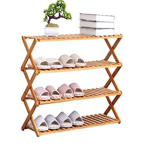 Yxsd shoe rack Organizador de almacenamiento plegable para puerta de entrada, dormitorio, pasillo, 4 capas, de bambú, tamaño 80 cm