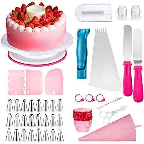 LDALAX Decorazione Torta Set di Utensili Pasticceria, 210 Pezzi di Utensili da Decorazione per Torte della Pasticceria Professionale, Giradischi Rotante, Fresa, Adatta per Cupcake, Dolci Torta