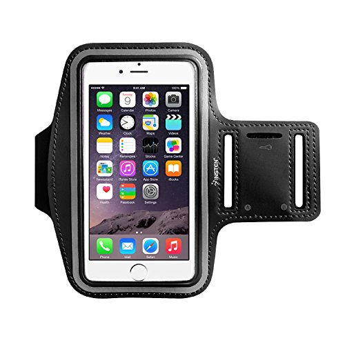 Insten Sports Armband Key Holder Compatible with iPhone 6S/6/8/Galaxy S7/ S6 Neoprene Running Sportband Case Pouch Flexible Adjustable Anti-Slip with Reflective Strip, Black