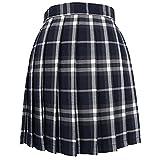 iiniim Falda Plisada Mujer Falda Corta Casual Basico Falda Escocesa Uniforme Escolar Cintura Alta Mini Falda a Cuadros Skater Mini Skirt Chica Falda Colegiala Azul&Gris S
