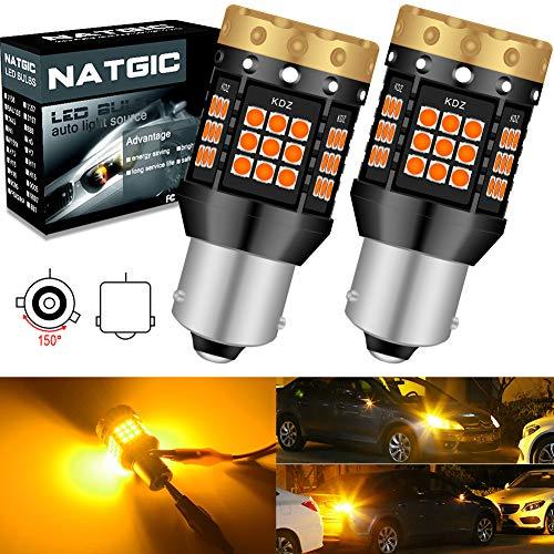 NATGIC BAU15S PY21W Bombillas de Luz LED de Señalización Direccional Ámbar 3700LM 3030 45 SMD Canbus sin Errores Anti - Hyper Flash para Luz de Señalización Delantera o Trasera LED (paquete de 2)