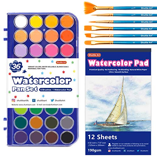 43 Pack Watercolor Paint Set, Shuttle Art 36 Colors Watercolor Paint Pan Set with 6 Brushes and 1 Watercolor Pad for Beginners, Artists, Kids & Adults Watercolor Painting, Bullet Journal, Calligraphy