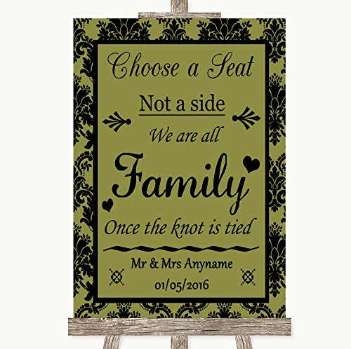Bruidsbord Poster Print Olijfgroene Damask Kies een stoel we zijn allemaal familie kan volledig worden aangepast elke tekst of kleur - Perfect Venue Decoratie (A3) Large