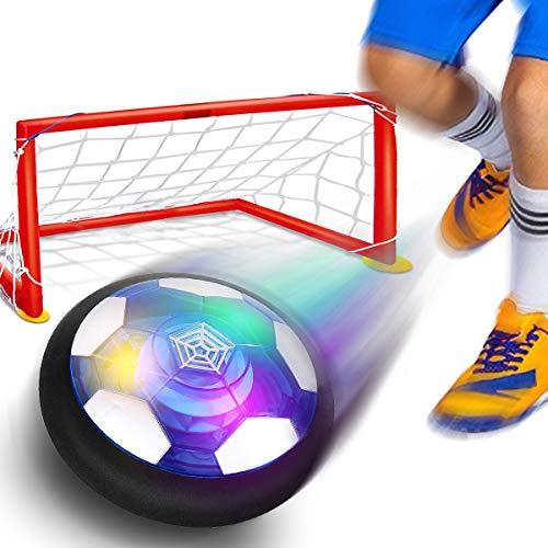 YORKOO Geschenke zum 2-6 Jahre Alt Jungen Hover Fussball Schweben Sie Fußball Tor Einstellen mit 2 Tore LED Beleuchtung Innen und Draussen Spiele Geburtstags Geschenke für Kleinkinder