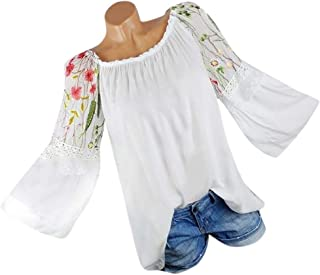 HGWXX7 Women Tops Long Sleeve Floral Embroidery Lace Flare Sleeve Blouse T-shirt