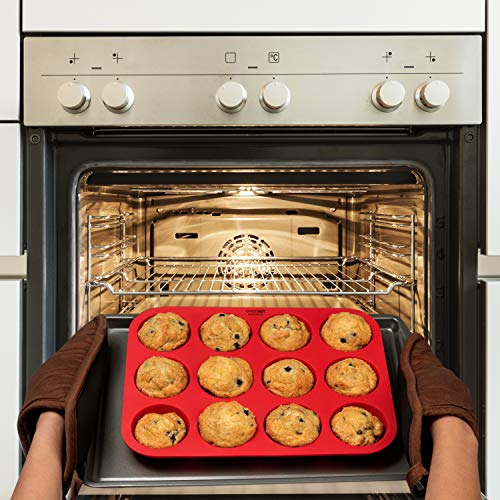 OvenArt Bakeware Silicone Muffin Cupcake Pan (12-Cup, 2-Pack)