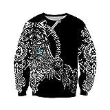 Sudaderas con Capucha de Otoño, Odin Viking Tatuaje 3D Alrededor de La Sudadera para Hombre Impresos Unisex Zip Jersey Chaqueta Casual,Sweatershirt,XXL