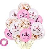 MissGood 12 Pouces Licorne Corne Latex Ballons Or Rose Confetti Ballons De Mariage Bébé Douche Fête d'anniversaire Décoration Fournitures 15 Pcs