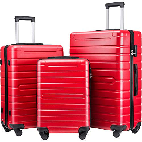 Expandable Hardside 3 Piece Luggage Set with TSA Lock and Spinner Wheels [CitySocial Series] (Red)