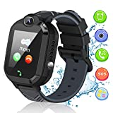 Kids Smart Watch, Smartwatch for Kids with Voice Chat Camera SOS Alarm Clock Games, Kids Waterproof Smart Watch 1.44 inch LBS Tracker Touch Screen Kids Phone Watch for Christmas Birthday Gifts (Black)