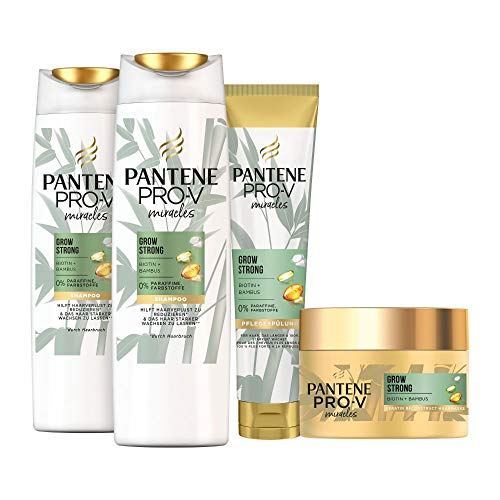 Pantene Pro-V Miracles Haarpflege Set: 2x Grow Strong Shampoo 250 ml + 1x Pflegespülung 160 ml + 1x Haarmaske 160 ml, Shampoo Damen, Conditioner, Bambus, Bamboo, Biotin, Haarpflege, Haarausfall, Kur