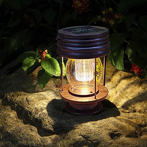 Linternas de queroseno, linterna solar de LED retro, lámpara de mesa impermeable, luz colgante con mango para la decoración del árbol del patio del patio del patio al aire libre, iluminación exterior,