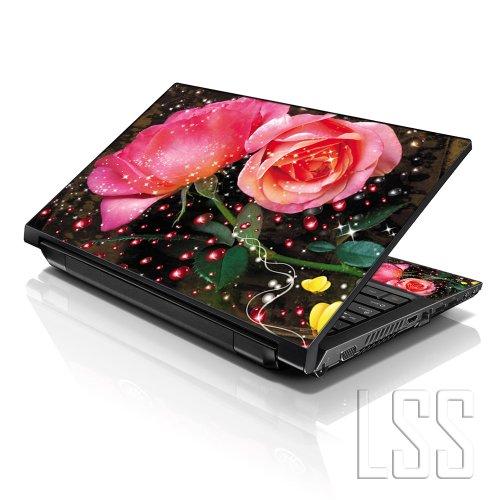LSS 17 43,94 cm Sticker Skin für Notebook Vinyl mit 41,91 cm 43,18 cm 43,94 cm 46,74 cm 48,26 cm HP Dell Apple Asus Acer Lenovo Asus Compaq (2 Wrist Pad inklusive gratis) mit Glitzer Rosa Blume