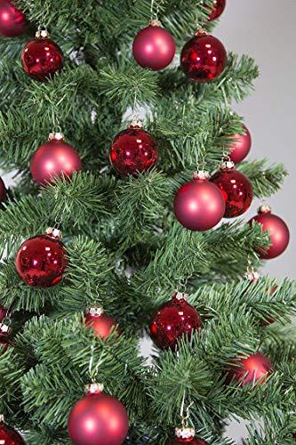 Riffelmacher 69581 Christbaumkugeln für Weihnachten, Baumkugeln aus Glas 31-teilig, Rot