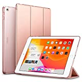 ESR iPad 10.2 ケース 第7世代 2019モデル クリア 薄型 軽量 傷防止 オートスリープ/ウェイク 三つ折りスタンド スマートケース Apple iPad 10.2インチ 第7世代 2019用ハードカバー(ローズゴールド)