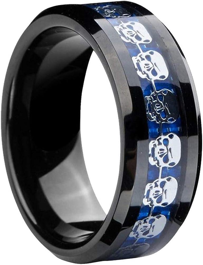 PAMTIER Men's Stainless Steel Demon Ghost Skull Wedding Ring Band with Blue/Black Carbon Fiber