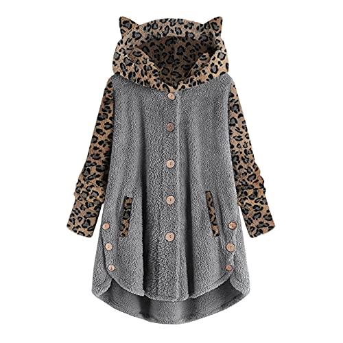 MEIPIQI Chaqueta con botones para mujer, de patchwork, con capucha, holgada, informal, talla grande, gruesa,...