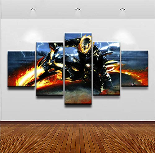 ACEDP Canvas Wall Art Living Room 5 Piece Paintings Pictures Comics Ghost Rider Modern Artwork Home Decor Posters Prints Wooden Framed Gallery