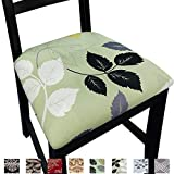NORTHERN BROTHERS Chair Seat Covers for Dining Room Chair Covers Printed Dining Chair Seat Covers Set of 4,Green Leaves