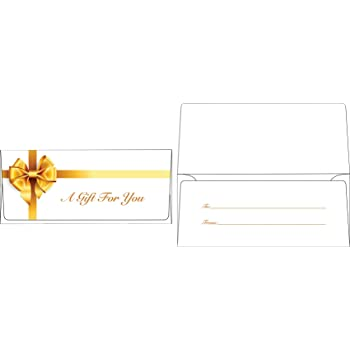 Currency Envelopes (2 7/8 x 6 1/2) - Gold Bow (50 Qty.)   Perfect The Holidays, Birthdays, Graduations, Company Bonuses, Gifts, Money and More!   CUR-99-50