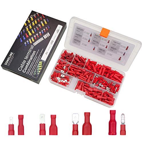 Kabelschuhe Set Isolierte Stoßverbinder Flachstecker Flachsteckhülse vollisoliert Rundstecker Steckverbinder Rundsteckhülsen für 0.5-1.5 mm² Kable SOMELINE Kabelverbinder 280 Stück in 4 Modelle