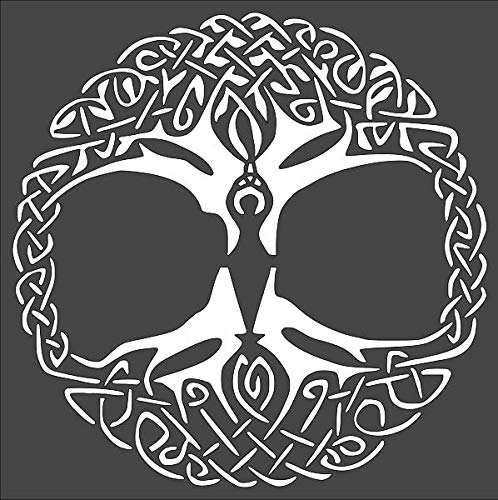 1- 8x8 inch Custom Cut Stencil, (PE-11) Wiccan Goddess Celtic Tree Arts and Crafts Scrapbooking Painting on The Wall Wood Glass
