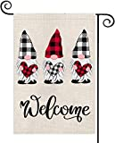 Holiday Valentines Garden Gnomes Buffalo Plaid Burlap Flag Vertical Outdoor Decorations -Double Sided Love Welcome Home Decor 12.5 x 18 Inch