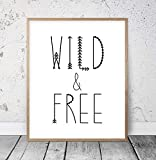 8 x 12 Inch Frame Wood Sign, Wild And Free Nursery Wall Decor Motivational Print Inspirational Quote Typography Poster Nursery Printable Art Boho Wall Art Minimalist Wood Pallet Design Wall Art Sign Plaque with Frame wooden sign