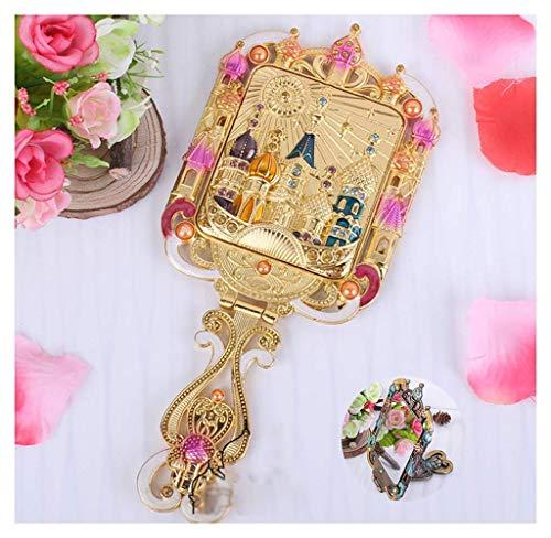 DealMux Espejo de metal cuadrado vintage Espejo de maquillaje de mano antiguo Cobre Retro Antiguo adornado Mini espejo de mano Juego de peine Regalos creativos Multicolor, B.