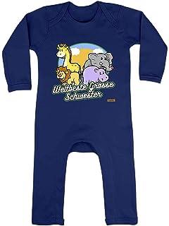 HARIZ HARIZ Baby Strampler Weltbeste Grosse Schwester Zoo Regenbogen Geburt Geschwister Plus Geschenkkarte Matrosen Dunkel Blau 6-12 Monate