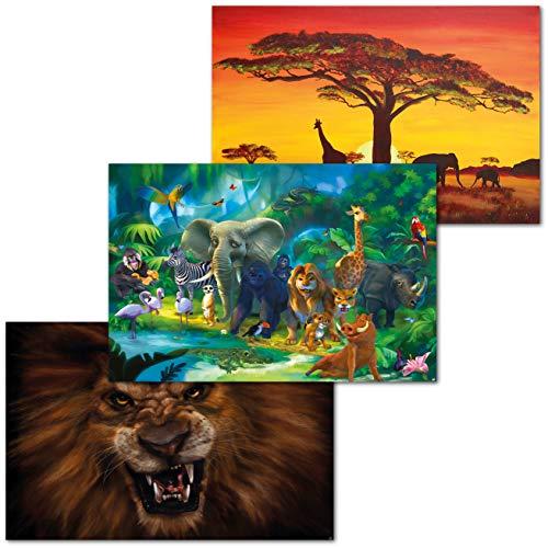 GREAT ART Set di 3 Poster XXL Motivi per Bambini - Animal Adventure - Africa Savannah Giungla Avventura Foresta Pluviale Leone Decorazione Parete Interni Murale Pittura 140 x 100 cm