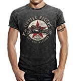 Biker T-Shirt im Washed Jeans Look: Hot Rod Vintage Racers XL