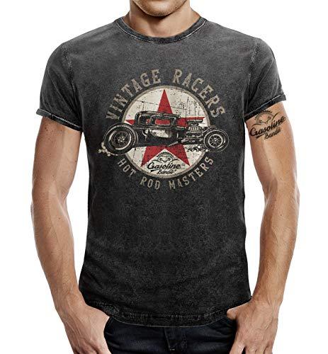 Biker T-Shirt im Washed Jeans Look: Hot Rod Vintage Racers 2XL