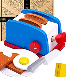 TOP QUALITY WOODEN PLAY FOOD SETS FOR CHILDREN | Our Kids Play Food is made of 100% FSC Approved Wood and features water-based paint for safe play , your role play food includes 2 slabs of butter , a toaster , an egg , salt and a plate and knife– kit...